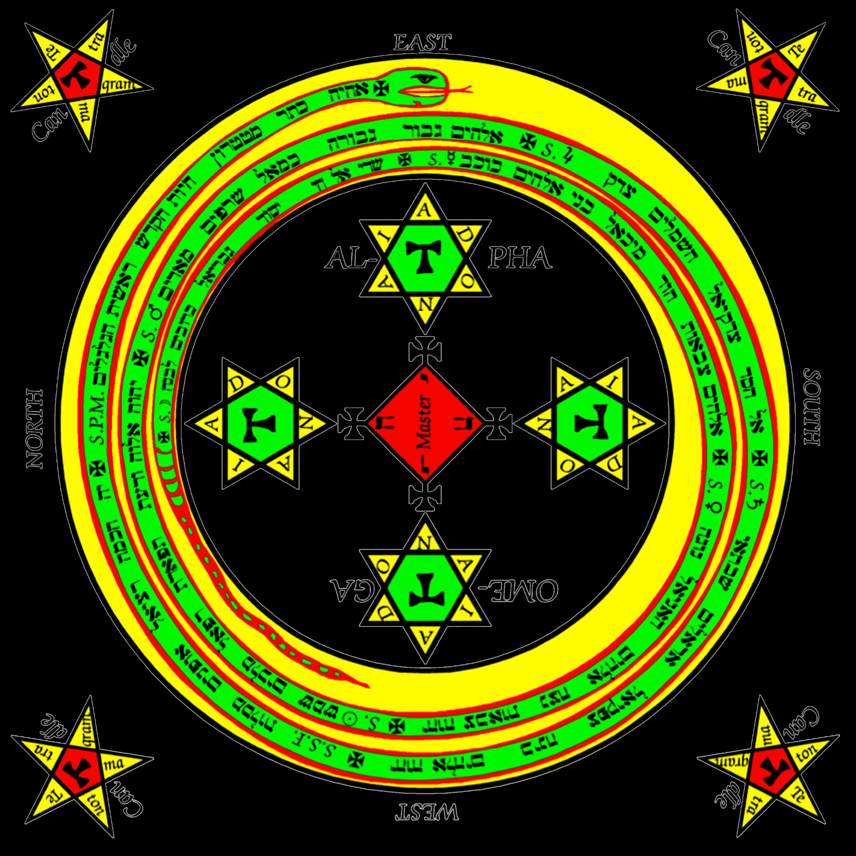 Círculo mágico de proteção colorido para magia Goétia - Goecia de Salomão