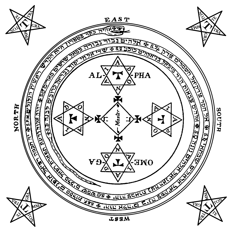 Círculo mágico de proteção preto para magia Goétia - Goecia de Salomão
